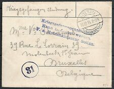 Reich 1915 PofWarcover Camp Soltau to Brussels