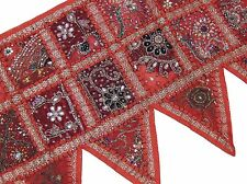 Red Unique Doorway Topper Valance - Handmade Ethnic Patchwork Window Toran 60""