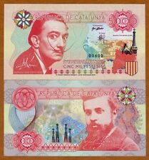 Catalonia (Spain), 5000 Pessetes, 2016, Private Issue, Essay UNC   Dali, Gaudi