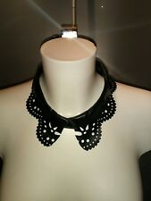 Decorative Laser Cut Black Leather Etched Collar