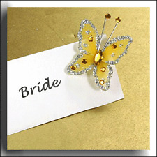 12 GOLD WITH SILVER GLITTER WIRED FABRIC BUTTERFLY Approx size 3.5 x 2.5cm