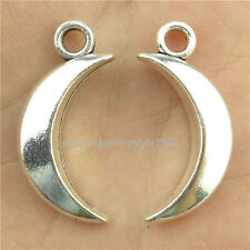 15723*10PCS Antique Silver Vintage Crescent New Moon Pendant Charm Alloy