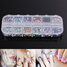 3000Pcs/2mm Round Rhinestones Glitter 12 Color Nail Art Acrylic Tips Decoration