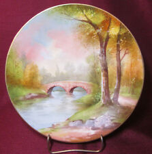 BEAUTIFUL Hand Painted VIGNAUD LIMOGES FRANCE Cabinet Plate LANDSCAPE & BRIDGE