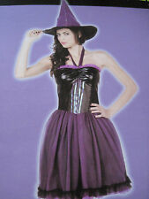 Woman Sexy Purple Witch Halloween Costume Totally Ghoul Dress Hat Size Large