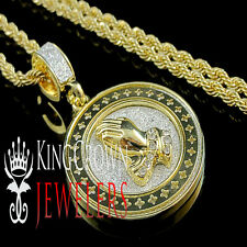 Mens Ladies Yellow Gold Finish Praying Hand Pendant Medallion Chain Necklace Set