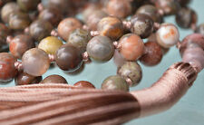 Picture Jasper 108 Knotted Mala Beads Necklace Quit Smoking, Clear toxins, Stimu