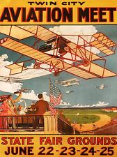 EXHIBITION AIRSHOW AVIATION TWIN CITY PLANE USA VINTAGE ADVERT POSTER 1661PYLV