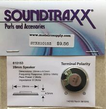 "Soundtraxx 810153 1"" Round Speaker (28mm) 8 ohm 1 Watt  NEW ITEM  MODELRRSUPPLY"