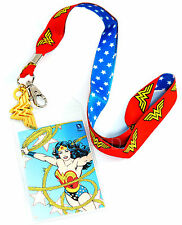 DC Comics Wonder Woman Lanyard with ID Badge Holder & Charm Officially Licensed