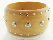 "LA VIE 7.5"" WIDE BAND CLEAR CRYSTAL SILVER STUD BROWN WOODEN BANGLE BRACELET NEW"