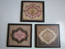 Paris Wall Decor Signs, French style plaques brown pink ladies bed bath pictures