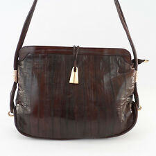 Vintage EEL Skin Dark Brown Hobo Shoulder Bag Purse Beautiful!