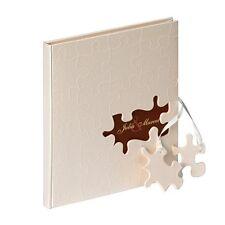 Gästebuch zur Hochzeit 'Puzzle' Hochzeitsalbum Hochzeitsgästebuch creme