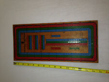 Vintage mid  Century wood Continuous Track Cribbage Board full color game pegs