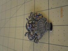 VINTAGE STERLING SILVER MARCASITE multi gem stone FLOWER BASKET BROOCH