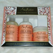 Shea Moisture Coconut & Hibiscus Curl & Shine Shampoo & Conditioner & Smoothie
