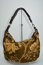 Talbots Designer Small Tapestry Soft Hobo With Leather Trim Zip Purse