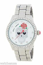 Betsey Johnson Women's Skull White Dial Crystals Accented Watch BJ00290-02