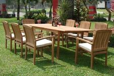 "9 PC TEAK STACKING SET GARDEN OUTDOOR PATIO FURNITURE WAVE DINING 83"" RECT TABLE"