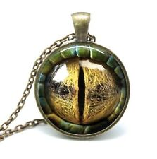 Glass Dome Cabochon Pendant Chain NECKLACE Gothic Steampunk Lizard/ Dragon Eye