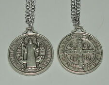 Larger Round St Benedict Medal on Chain Schoolchildren Kidney Disease Infections