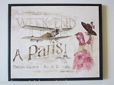 Paris in Pink wall decor plaque bedroom bathroom French bed & bath picture