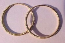 "14KT YELLOW GOLD 3/4"" wide ENDLESS  HOOP EARRINGS - SATIN FINISH SHIMMERS!"
