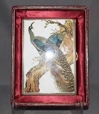 STUPENDOUS Peacock Vintage Charmant Cigarette Case w/Lighter in Box!