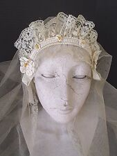 EXQUISITE 1920's ANTIQUE/VINTAGE NET BRIDAL WEDDING VEIL WITH HEADPIECE