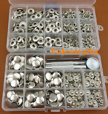 100 Sets 15mm Silver Snap Fastener Popper Press Stud Button Leather Tool Kit