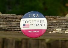 "Wal-Mart USA Together We Stand American Flag 2 1/4"" Metal Pin Pinback Button"