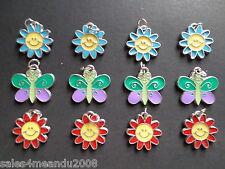 12 Enamel Spring Summer Daisy Flower Butterfly Charms Jewelry Earrings A23