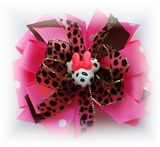 Hot Pink Minnie Mouse  Leopard  Hair Bow Toddler/Girl Hairbow