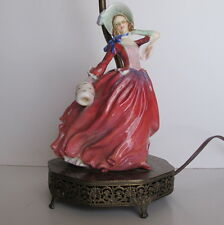 Vintage Royal Doulton Autumn Breeze Figurine Lamp on Brass Base