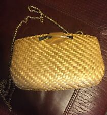 Vintage Rodo Italy Natural Tan Lacquered Wicker Clutch Or Evening Bag With Strap