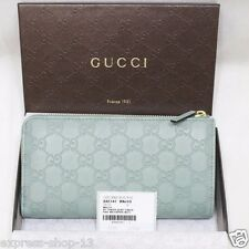 Gucci Women's 332747 Pool Water Leather GG Guccissima Zip Around Wallet Clutch