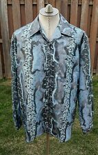 PSYCHEDELIC Pronti Mens Blue Silver Satin Metallic Python Snake SHIRT Sz XL CLUB