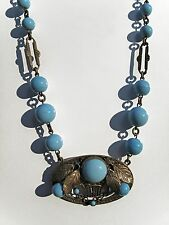 Vtg Choker Czech? Sky-Blue Milk Glass Beads w/Ornate Oval Brass Pendant 15.5""