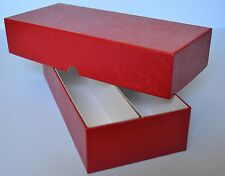 "RED DOUBLE ROW STORAGE BOX FOR 2X2 HOLDERS -FITS 240 WITH COIN FOLDED- 10""X4""X2"""