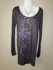 FAT FACE Ladies Dark Grey Multicolour Pattern Long Sleeve Jersey Dress Size 10