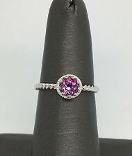 14K Solid White Gold Twist Ring Set In Natural Pink Topaz