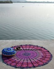 Purple Round Mandala Beach Throw Hippie Tapestry Yoga Mat Rug Cotton Indian 48""