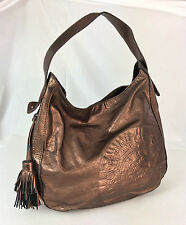Authentic Juicy Couture Logo Bronze Leather Tassel Shoulder Bag Hobo Handbag
