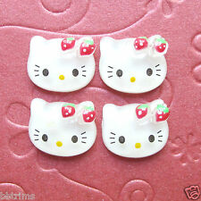 "US SELLER - 10 pcs x 5/8"" Resin Kitty Flatback Beads w/Strawberry/Hello SB138"