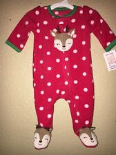 CARTERS 6M GIRL CHRISTMAS INFANT BABY REINDEER FLEECE PJS CLOTHES NWT