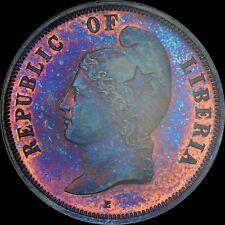 Eye Popping Cool 1890 Liberia 2C Ngc Pf64 Bn Km-Pn53 Pattern Uber-Toned Purple