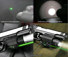 Tactical 2in1 Combo CREE Q5 LED Flashlight+Green Laser Sight For Pistol 2 Switch