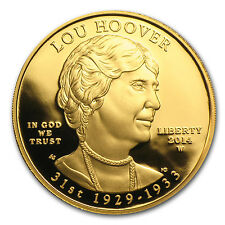 2014-W 1/2 oz Proof Gold Lou Hoover Coin - Box and Certificate - SKU #83991