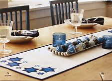 WHITE BLUE STARS TABLE RUNNER 14x48 Cloth Fabric Holiday Dining Hanukkah NEW